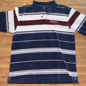 Phat Farm Polo Stripe Short Sleeve Sweater Type Shirt Thick Size Medium/Large