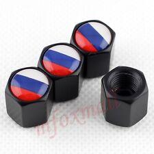 Nero Accessori Auto Ruote Valvola Pneumatico Aria Polvere Tappi Cover Russia RU FLAG x4