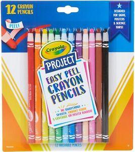 Crayola Project Easy Peel Crayon Pencils 12/Pkg Assorted Colors