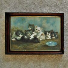 Antique Cats Kittens Chromolithograph Marie Guise Newcomb Lithograph Print 1892