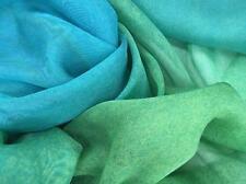 Mousseline de Soie peinte à la main turquoise et verte