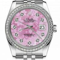 Rolex 26mm Datejust With custom Diamond bezel Pink Flower MOP Mother of Pearl Di