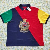 Big & Tall New Mens Polo Ralph Lauren Colorblock Polo Crest Multi Color Polo