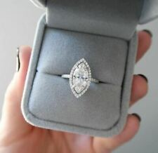 Wedding Ring 925 Sterling Silver 3Ct Marquise Moissanite Halo Engagement