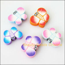 8Pcs Mixed Polymer Fimo Clay Animal Butterfly Spacer Beads Charms 14x20mm