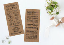 50 Kraftcard Rustic Vintage Shabby Chic Wedding Order of Service Day Cards!