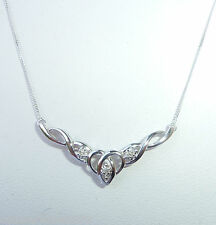 "9ct White Gold & Diamond Infinity Necklace, 17 3/4"", NEW"