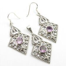 Ancient Look Pendant & Earrings SET Gift Jewelry ! 925 Silver Natural AMETHYST