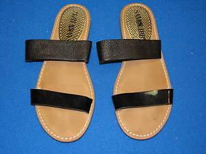 8.5 M Sam & Libby Faux Leather Ladies Womens Sandals Shoes Flip Flops Flat Strap