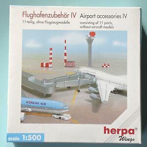 Airport Accessories 11 parts komplett, 1:500 OVP Herpa Flughafenzubehör IV