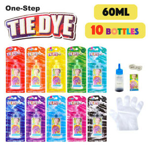 10x Bright Colours Tie Dye KIT Fabric Dye Art Paint Non-Toxic Textile DIY Gifts