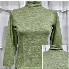 SMALL - Vintage 70s Retro Green Mock Neck Top