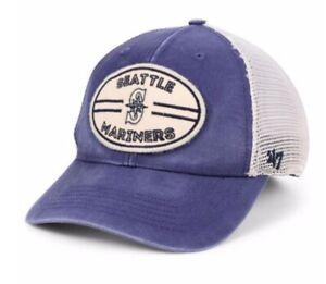 SEATTLE MARINERS HUDSON PATCH TRUCKER MEN'S '47 BRAND MLB SNAPBACK HAT CAP New