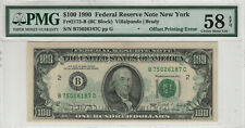1990 $100 FEDERAL RESERVE NOTE OFFSET PRINTING ERROR PMG CHOICE AU 58 EPQ (187C)