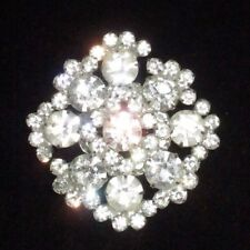 Crystal Cluster Floral Flower Shiny Pin Brooch Vintage Silver Tone Rhinestone