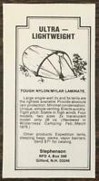1978 Stephenson Tents Gilford NH Print Ad Ultra Lightweight Four Models Two Size