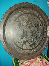 More details for a large vintage indian brass tiffin table top/wall plaque with engraved figures