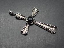 Silber .935 Anhänger Kreuz Markasiten dunkler Glasstein (140118)