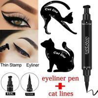 2in1 Winged Eyeliner Waterproof Makeup Cosmetic Eye Liner Pencil Black Liquid