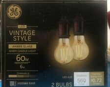 GE LED Amber Vintage Style Warm Candle Light Dimmable bulb A19 - 2 Pack