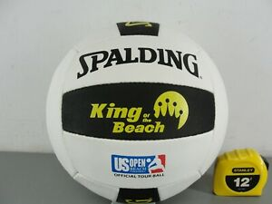 SPALDING KING OF THE BEACH US OPEN OFFICAL TOUR LEATHER VOLLEYBALL NEW WHITE/BLK