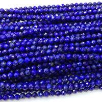 Veemake High Quality Natural Genuine Dark Blue Lapis Lazuli Faceted Round Beads