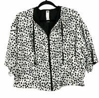 Anthropologie Pure + Good Womens Jacket Windbreaker Black White Cape Size Large