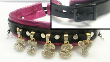 Super Sparkly crystal letters leather collar locking - Any name or word!
