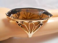 HEAVY WIDE 14K YELLOW GOLD BIG 16CT SMOKEY TOPAZ QUARTZ ART DECO FLOWER RING 6.5