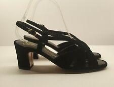 Vintage Selby Fifth Avenue Ladies Sandals UK 4 W Black Velvet Strappy Heels
