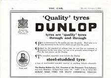 1914 DUNLOP RUBBER CO. Quality Tyres Tires By Appt to King George V VTG PRINT AD