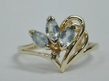 SOLID 10K YELLOW GOLD 3 MARQUISE SKY BLUE TOPAZ RING DIAMOND ACCENT 2g SIZE 6.5