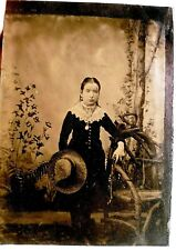 """TINTYPE PHOTO Ferrotype Young LADY  w/ Hat ANTIQUE Picture Photograph 2X3"""" 1880"""