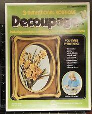 Yellow Floral Decoupage 3-Dimensional Boutique wood Shadow Box vintage arts kit