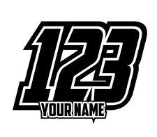 3 SETS OF Custom Race Numbers & Name Stickers Motocross Kart Decals MX Dirt Bike