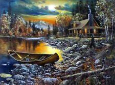 """High Country Retreat By Jim Hansel Lake Mountain Art Print Image Size 16"""" x 12"""""""