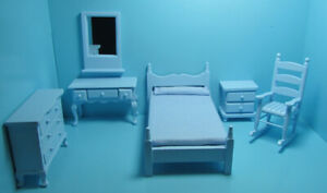 Dollhouse Miniature Complete Wood Bedroom Set in Blue 6 Pieces EMWF683
