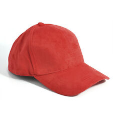 Unisex Men Women Faux Suede Baseball Cap Snapback Visor Sport Sun Adjustable Hat Red