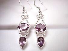 Faceted Amethyst Earrings 925 Sterling Silver Dangle Drop Oval Teardrop New