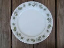 Vintage Norleans Cynthia China Dinner Plate Green Leaves 10-1/2 inch Platinum