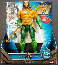 """12"""" AQUAMAN DC TRIDENT Strike Figure Squeeze legs 30 Sounds phrases Lights up"""