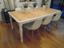 Shabby chic large pine extending dining table and 6 new white dining chairs