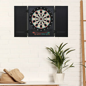 Electronic Dartboard with LED Digital Score Board 27Games Storage Cabinet