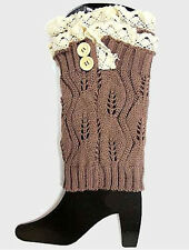 SALE! TAUPE BROWN Cable Knit Lace Top w/Buttons Boot Cuff Topper Leg Warmer