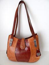 MC purse MARC CHANTAL Cognac leather Croc embossed w/Silver tone hardware XLNT!