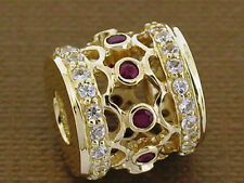 Bd097- STUNNING 9ct Solid Gold Natural Ruby & White Sapphire Large Bead Pendant