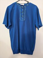 Bay Road By Givoni Women's Top Size 14 Blue Floral T-Shirt Short Sleeve Buttons