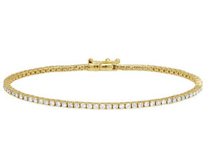"Yellow Gold One Row Tennis Genuine Diamond Bracelet 8"" 2MM 2.5 CT"
