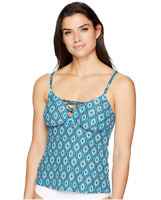 Coastal Blue Women's Swimwear Lace Up Front Tankini Top, Egyptian Night,M (8-10)