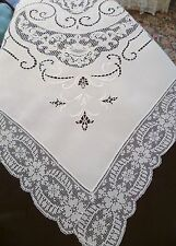 """108"""" x 74"""" Antique ITALIAN LACE Cutwork HAND Embroidery TABLECLOTH Irish LINEN"""